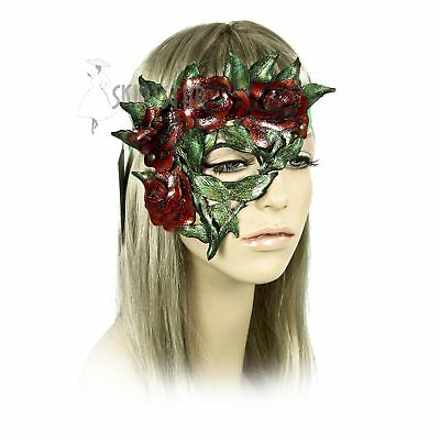 Handcrafted Fairy Flower Queen of Hearts Halloween Costume Leather Rose Eye Mask (Halloween Handcrafts)
