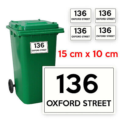 4 x Personalised Printed Wheelie Bin Number Stickers A6- number and road PBN01