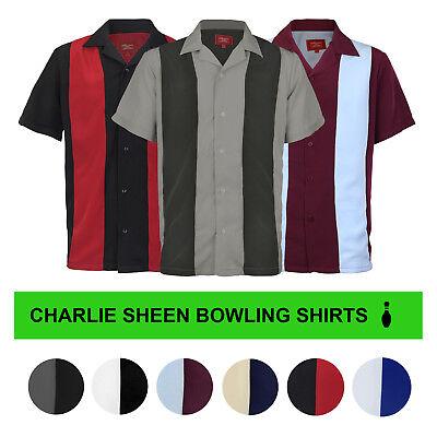 - Men's Retro Classic Charlie Sheen Two Tone Guayabera Bowling Casual Dress Shirt