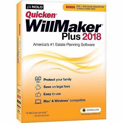BRAND NEW Quicken Willmaker Plus 2018 DISC INCLUDED Mac/Windows *USA SELLER*