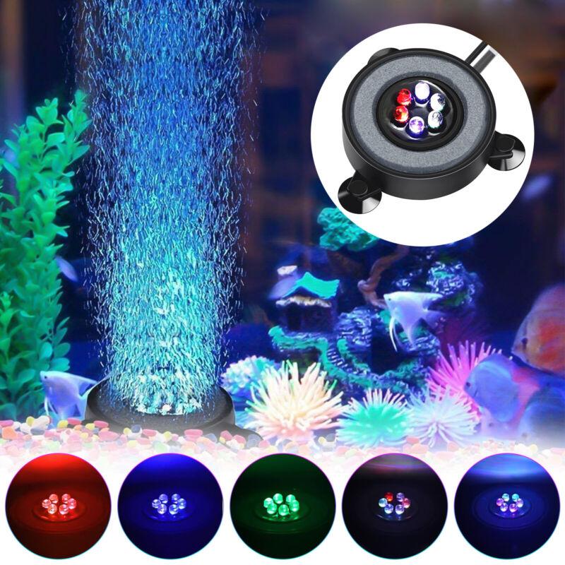 6 LED RGB Round Aquarium Air Bubble Light Fish Tank Accessories Underwater Lamp