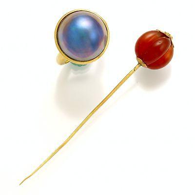 Lady's 18K Blue Steel Moby Pearl Ring with a 14K Carnelian Pumpkin Stick-Pin