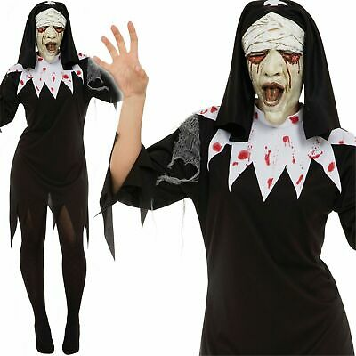 Adulti Spaventosa Mary Costume Donna Halloween Zombie Suora Vestito