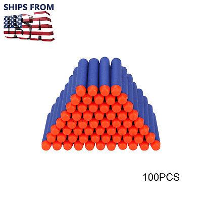 US New 100Pcs Refill Foam Darts For Nerf N-strike Elite Series Blasters Toy Gun