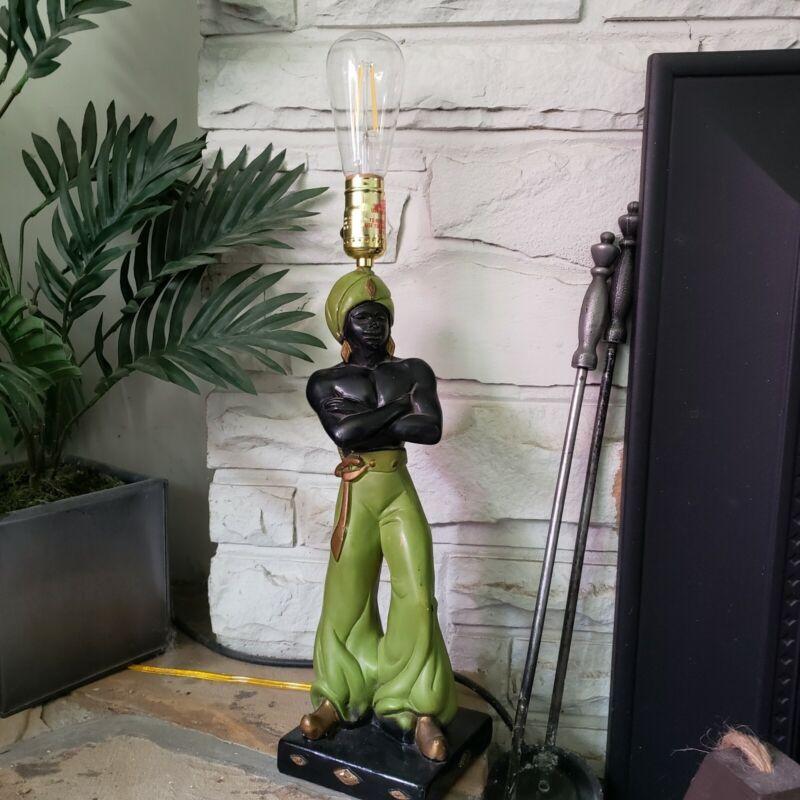 Retro Vintage Mid Century Chalkware Nubian Blackamoor Figural Table Lamp