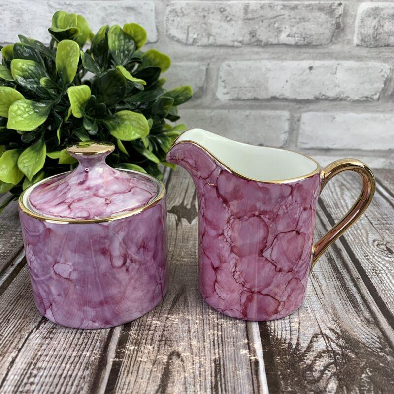 Lusterware Pink Marble Sugar & Creamer Set Fine Porcelain Made in Japan