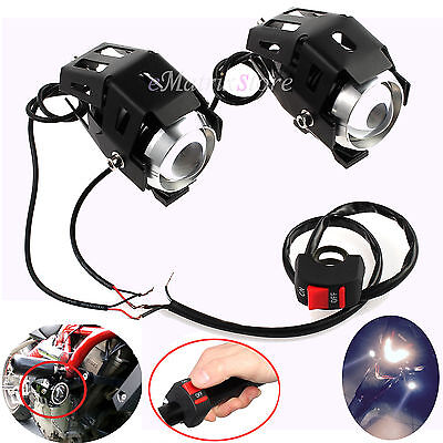 2pcs 125W Motorcycle CREE U5 LED Headlight Driving Fog Spot Light Bulb & Switch