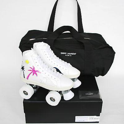 SAINT LAURENT palm tree roller skates leather hi top shoes rollerskates 38 NEW