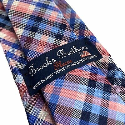 "Brooks Brothers Fleece Tie Boys Pink Plaid Silk Necktie 51"" X 2.5"" NEW"