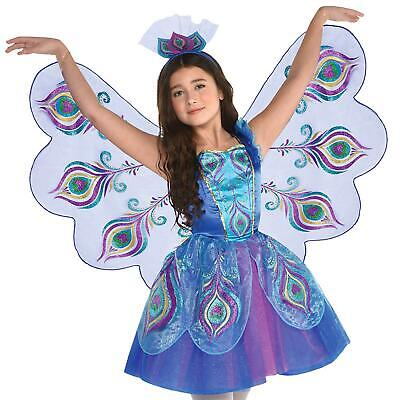 Girls Pretty Peacock Animal Fairy Bird Fancy Dress Wings Costume Kids Carnival
