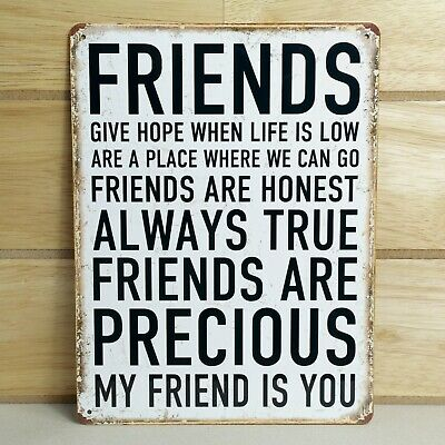 Precious Friendship Sign Vintage Retro Wall Metal Tin Plaque Best Friend Gift