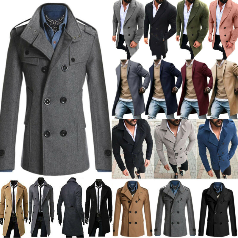 USA Mens Winter Trench Coat Double Breasted Overcoat Long Ja