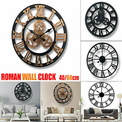Vintage Style Home Decor (Large Vintage Style Roman Numerals Skeleton Round Wall Clock Home Decor Gift)