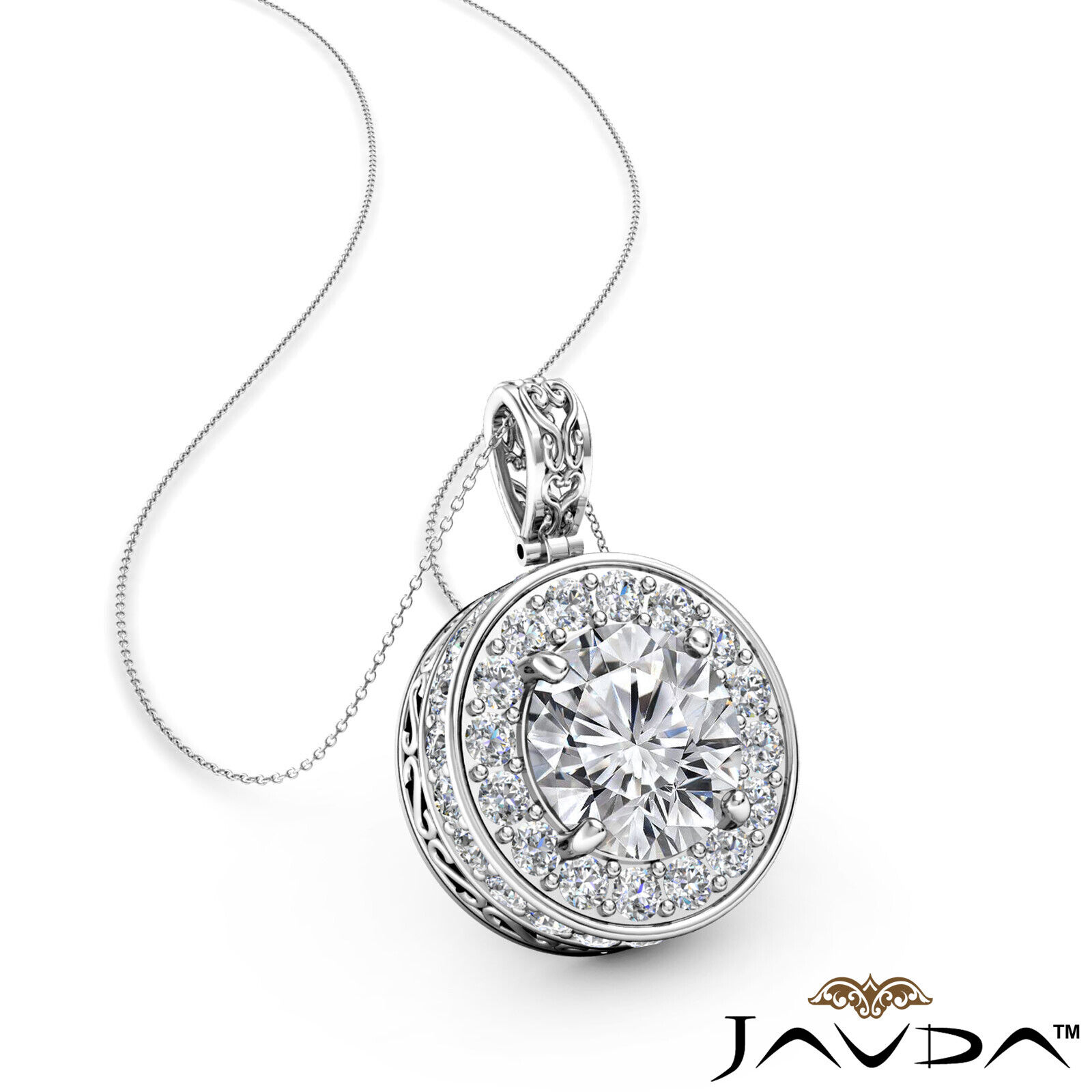 Circa Halo Pave Set Round Diamond Filigree Design Pendant 18 Inch Chain 1.1ctw.