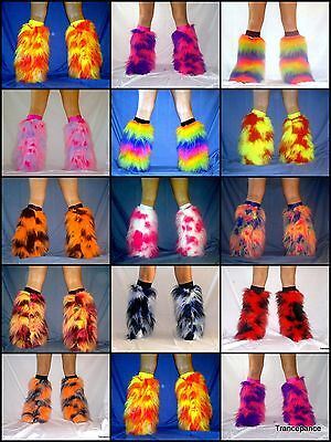 NEON FLUFFY LEGWARMERS LEG WARMERS BOOT COVERS RAVE FLUFFIES](Fluffy Boot Covers)
