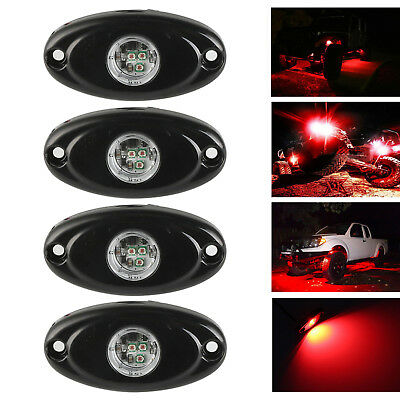 4X 9W CREE LED Rock Light RED For JEEP Offroad Truck Boat Under Body Trail Lamp