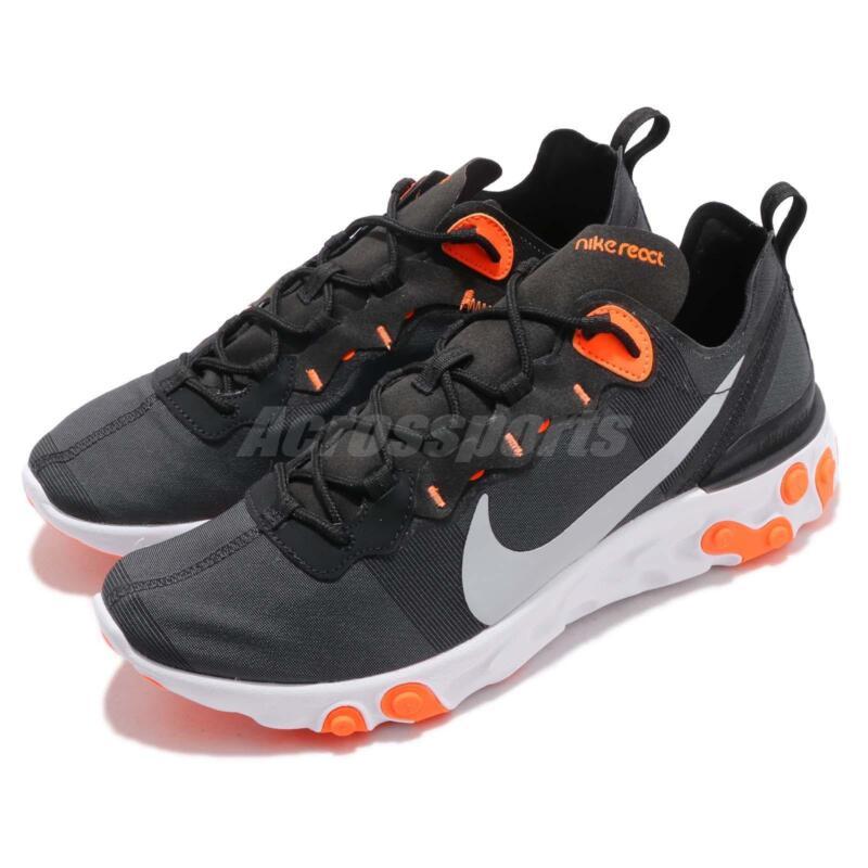 432d53607357c Nike React Element 55 Black Grey Orange Men Running Shoes Sneakers  BQ6166-006