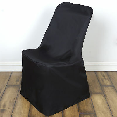 10 Black LIFETIME FOLDING CHAIR COVERS Wedding Party Discounted Decorations - Discount Wedding Decorations