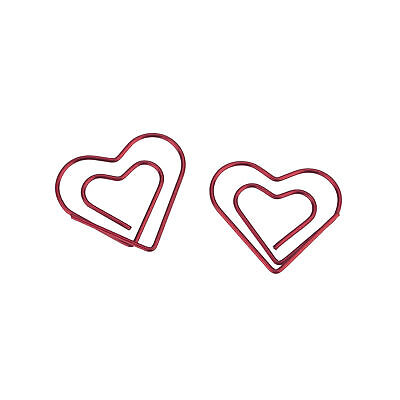 Clearance Lot Of 100 Heart Shaped Cute Paper Clips Bookmark Blinder Pack Red