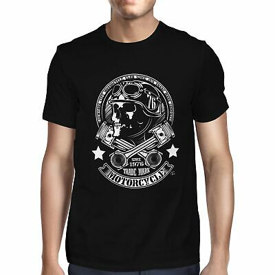1Tee Mens New York City Motorcycle Club Skull Biker T-Shirt