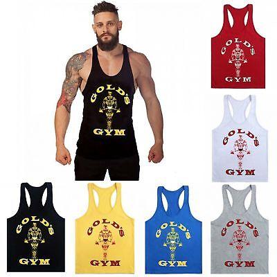 Golds Gym Tank Top Stringer Men Workout Fitness Sleeveless Bodybuilding Shirt