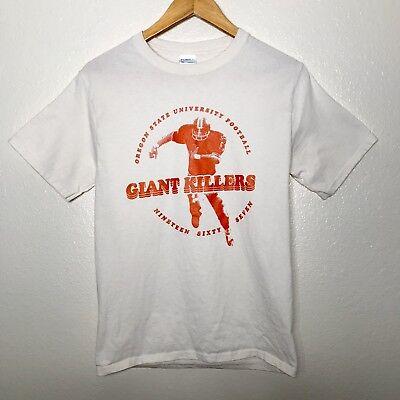 OSU Oregon State University Football Giant Killers Adult Sz Small T-Shirt White