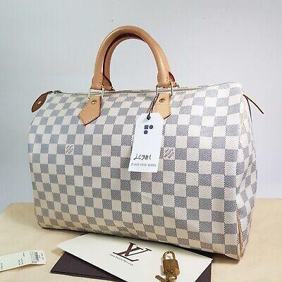 Auth Louis Vuitton Speedy 35 Damier Azur N41535 With Dust Bag & Invoice LC981