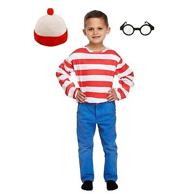 Striped Red & White Top Costume Outfit World Book Day Top Hat Glasses NEW (Striped Top Hat)