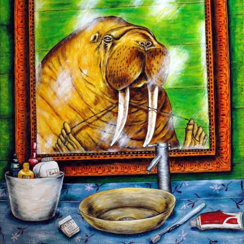 walrus flossing bathroom art tile coaster gift artwork gift