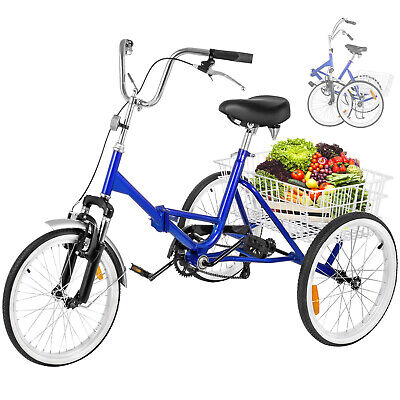 """Folding Adult Tricycle 20"""" Portable Bicycle 3-Wheel Tricycle"""