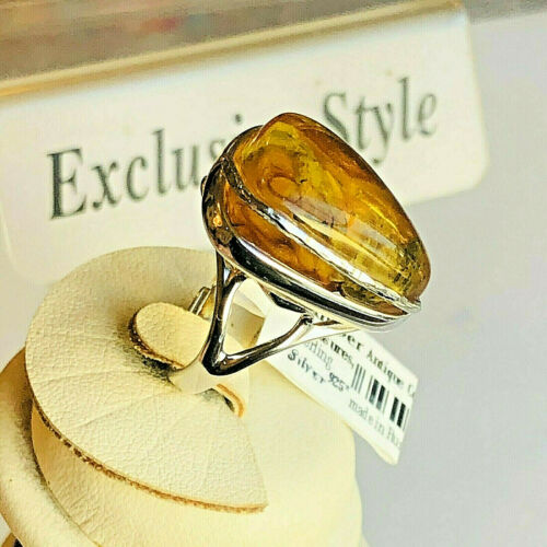 Genuine Russian Baltic Amber Ring Size 7,5 - 8,0 Vintage Butterscotch Egg Yolk