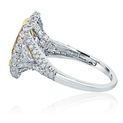 GIA 2.74Ct Marquise Fancy Brownish Yellow Diamond Engagement Ring 18k White Gold 1