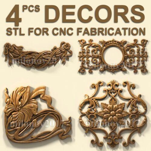 3d stl Model relief for CNC Router Artcam 4 pcs Pack