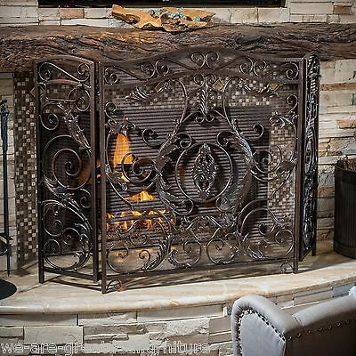 Indoor Mariella Black Brushed Gold Finish Wrought Iron Fireplace Screen