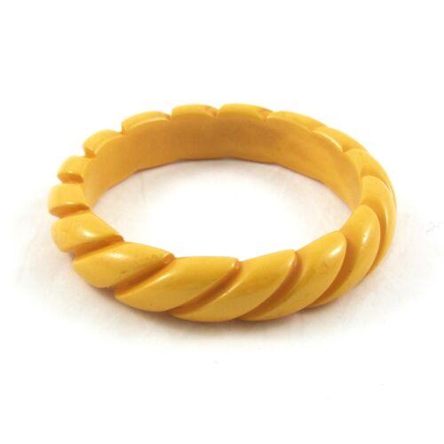 Vintage Carved Bakelite Bangle Bracelet Rope Twist