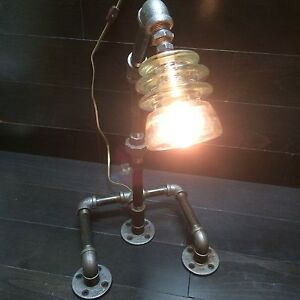 VINTAGE STYLE PIPE GLASS INSULATOR LAMP