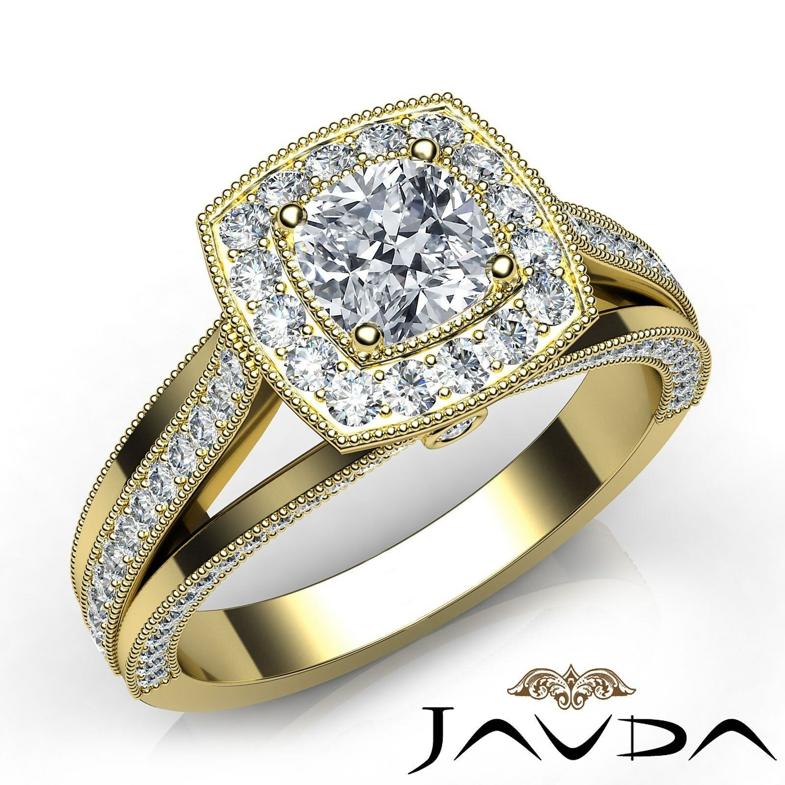 Halo Split Shank Milgrain Bezel Cushion Diamond Engagement Ring GIA H VS2 1.40Ct