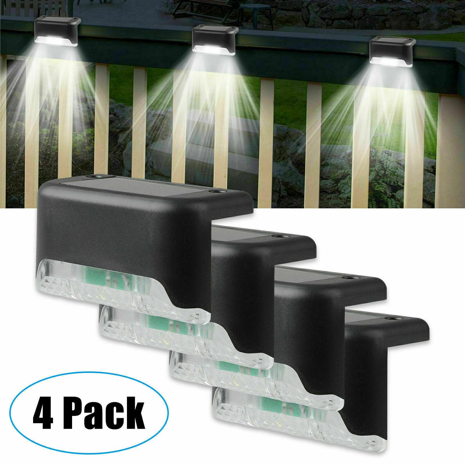 4 Solar LED Bright Deck Lights Outdoor Garden Patio Railing Decks Path Lighting Home & Garden