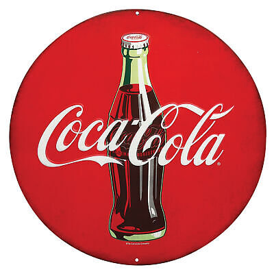 Collections Etc Embossed Coca-Cola Vintage Round Tin Sign Wall Plaque Décor