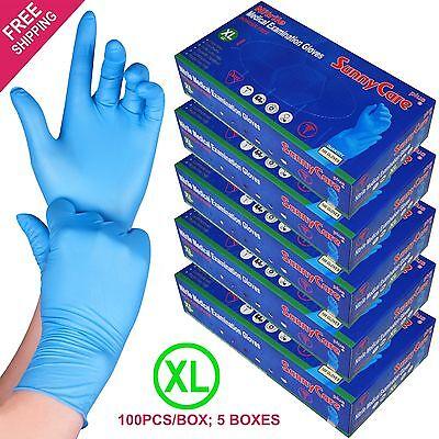 500 /5boxes Blue Nitrile Medical Exam Gloves Powder Free (Non Vinyl Latex) --XL