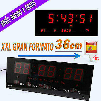 e33080cb1920 Reloj LED de Pared Digital Extra Grande 36 X 15cm Temperatura Calendario  Oficina