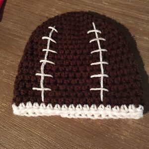 Handmade infant hat - football ( 3 months-ish)