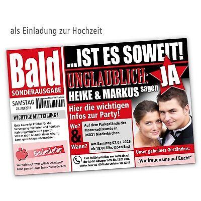 Einladungskarten Hochzeit, Save the Date, mit pers. Bild & Text – als Zeitung ()