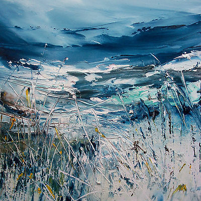Abstract Coastal Grasses / Seascape. Original Acrylic Painting.