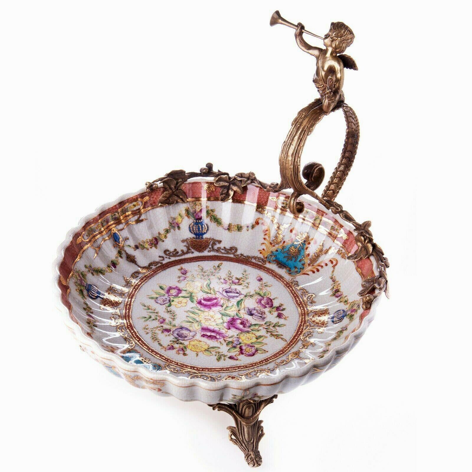 Prunkschale Porzellan Bronze Schale mit Engel Obst-Gebäck-Konfekt 6065