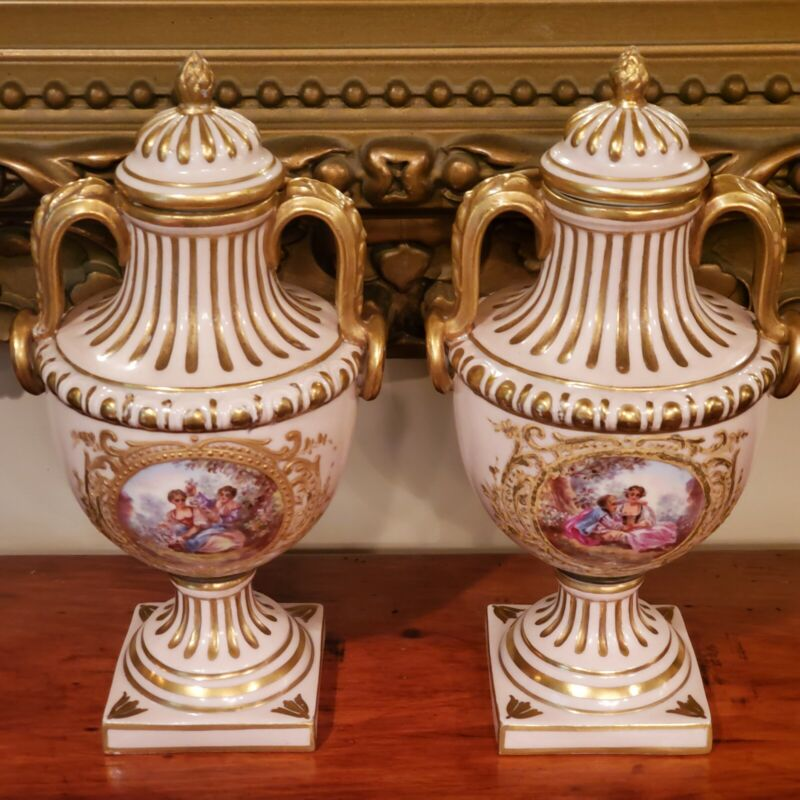 Pair Of 19th Century French Porcelain Lidded Urns