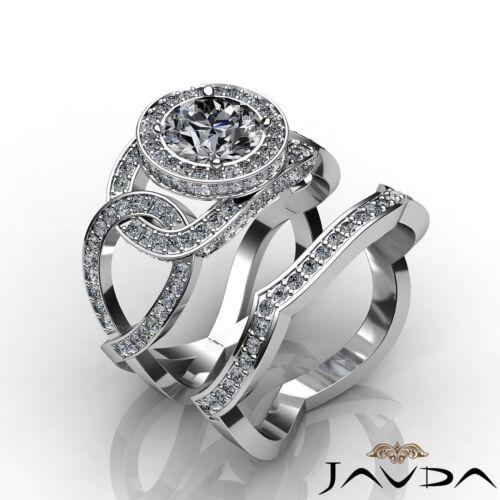 Bridal Set Round Shape Diamond Engagement Huge Ring GIA F SI1 Platinum 3.2ct