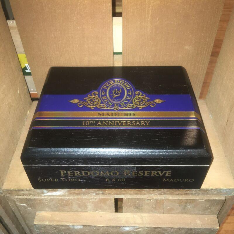 Perdomo Maduro Super Toro 10th Anniversary Empty Wooden Cigar Box 9x7.5x3.5
