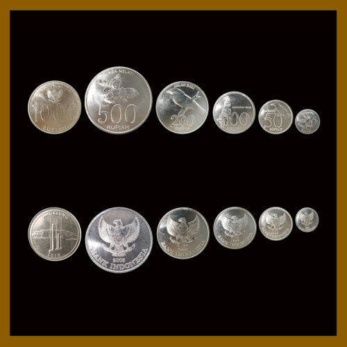 Indonesia 25 50 100 200 500 1000 Rupiah (6 Pcs Coin Set), 1992-2010 Birds Unc