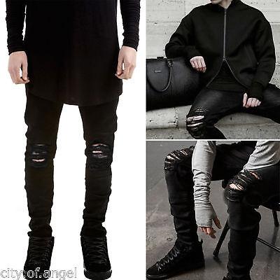 US Men's Distressed Ripped Jeans Moto Black Denim Pants Slim Skinny Fit Trousers
